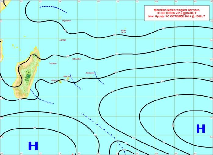 Des lignes d'instabilité affectent Rodrigues et Maurice où le temps est moins sec qu'à la Réunion. MMS