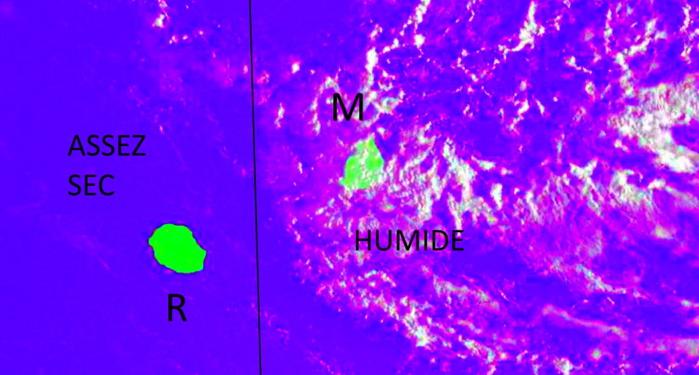 Ce matin le temps humide intéresse Maurice. La Réunion se situe encore dans une zone assez sèche à l'avant avec des averses dans l'intérieur et sur les pentes cet après midi.
