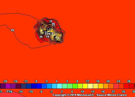 Les températures maximales sous abri approcheront les 29° sur de nombreuses régions du littoral atteingant localement 30° dans l'Ouest. Arome. METEO FRANCE