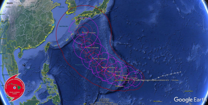 Typhoon Hagibis: extreme rapid intensification, forecast to reach cateogry 5 within 36h