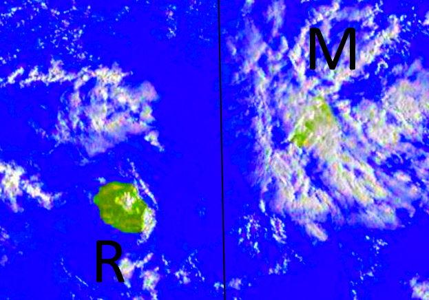 Comme la semaine dernière Maurice est exposée aux averses matinales charriées par l'alizé. La Réunion est dans une zone moins humide notamment dans l'intérieur l'après midi.