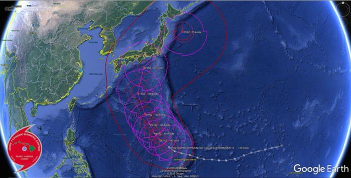 """Certes affaibli mais encore """"cyclone"""" Hagibis pourrait menacer la région de Tokyo dans 4 jours mais la prévision reste encore incertaine. JTWC"""
