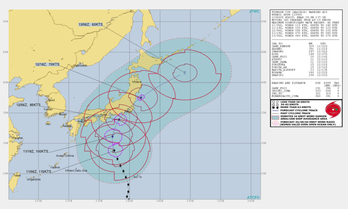 Typhoon Hagibis is forecast to track close to the Tokyo area in approx 30hours