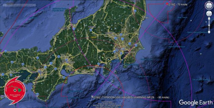 Typhoon Hagibis making landfall shortly near the Tokyo/Chiba area
