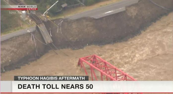 Un pont ferroviaire a cédé. NHK WORLD