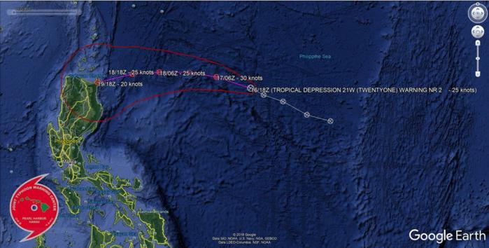 21W still a weak tropical depression