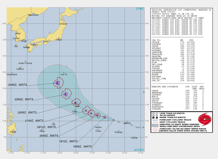 22W: FORECAST TO REACH TYPHOON INTENSITY IN APPRX 72H