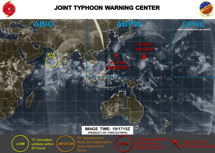 Typhoon Neoguri(21W) strong cat 2 has peaked. Bualoi(22W) gradually intensifying