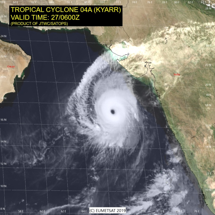 Kyarr(04A) now a Super Cyclone, the 2nd of the year for the North Indian basin