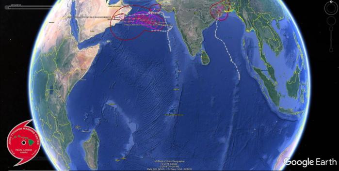 Trajectoires des 4 cyclones suivis cette année au 27 Octobre. JOINT TYPHOON WARNING CENTER