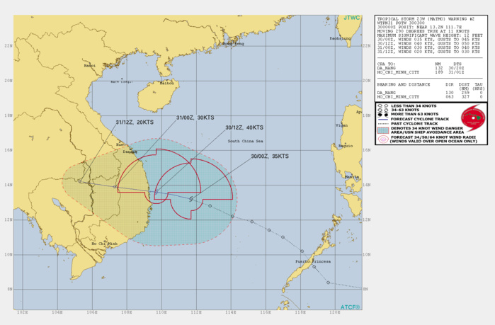 TS 23W: PEAK INTENSITY OF 40KNOTS FORECAST WITHIN 12H