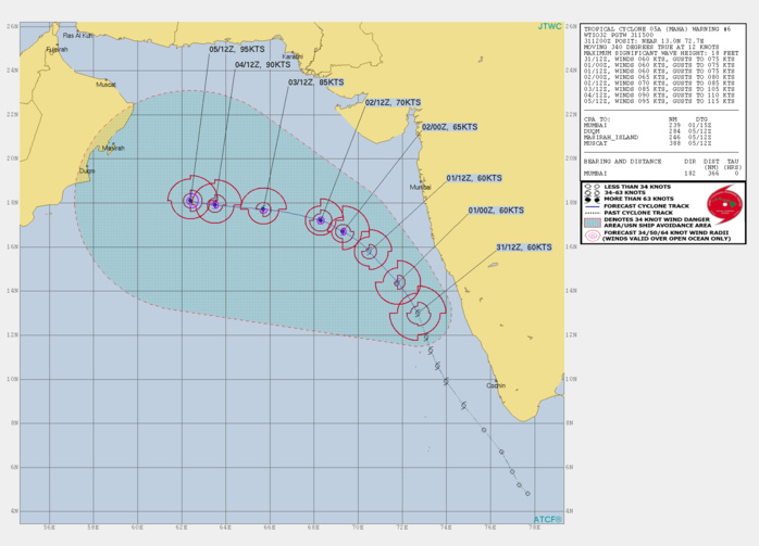 TC 05A: INTENSITY IS FORECAST TO INCREASE STEADILY AFTER 24H