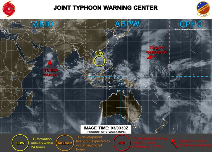 Maha(05A) and Halong(24W) both intensifying over open seas