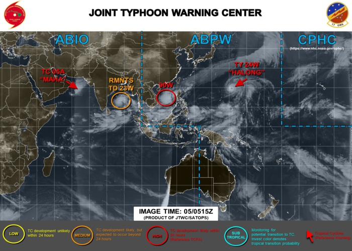 Halong(24W) now a Super Typhoon, Maha(05A), Invest 90W and ex 23W: updates