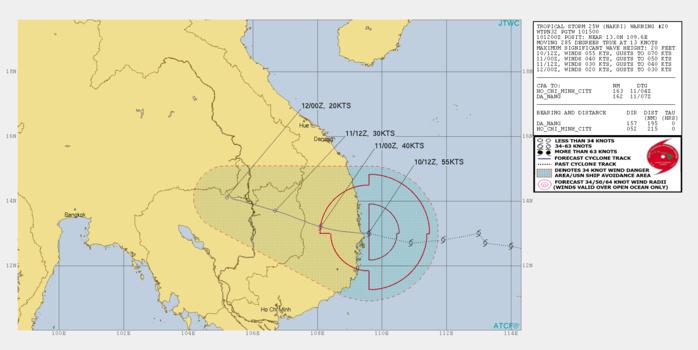 Tropical Storm Nakri(25W) making landfall as a 55knots cyclone