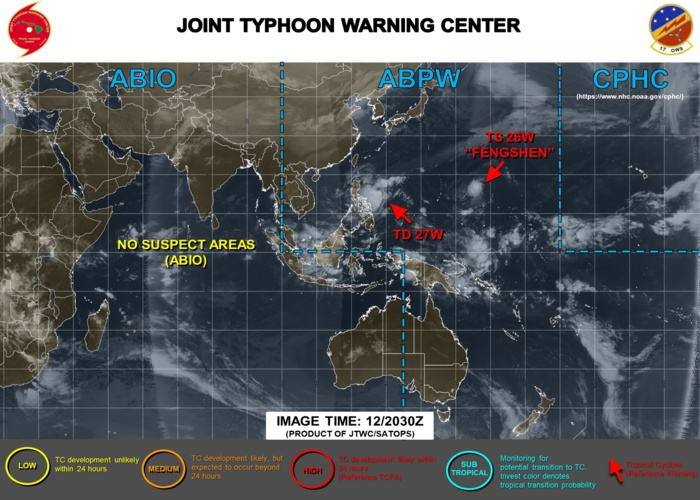 TS Fengshen(26W) and TD 27W East of the Philippines: updates at 13/02UTC