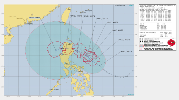 TD 27W: FORECAST TO BE CLOSE TO EAST LUZON IN 72H AS A 55KTS CYCLONE