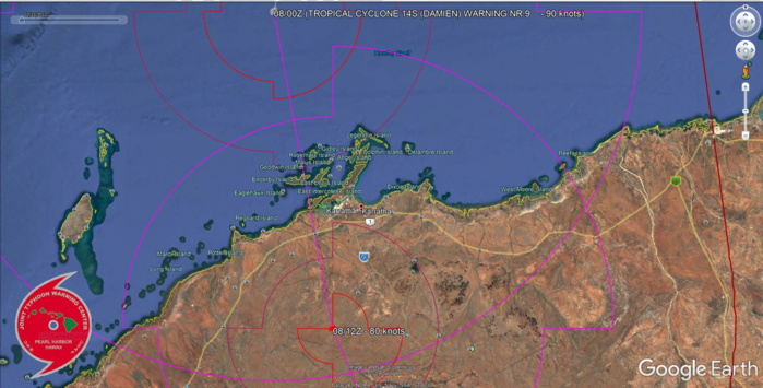 TC 14S(DAMIEN) CAT 2 US, making landfall near Karratha within the next hours