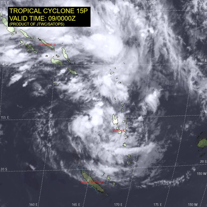 South Pacific: TC 15P gradually intensifying and approaching New Caledonia, update 09/03UTC