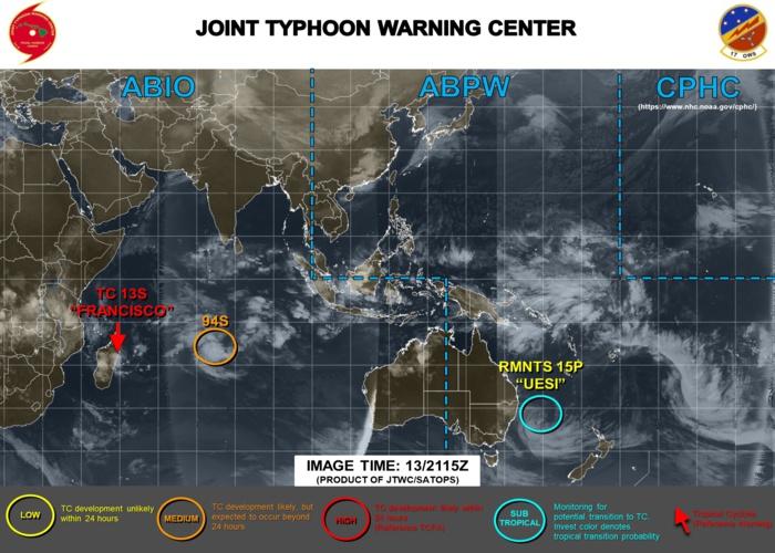 SHEM: 13S(FRANCISCO) intensifying near Madagascar, 15P(UESI) and 94S updates at 14/00UTC