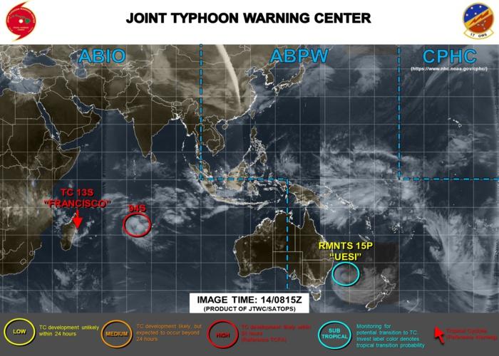 12Z Update: 13S(FRANCISCO) close to landfall near Vatomandry, 94S: Tropcial Cyclone Formation Alert