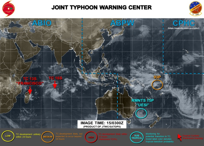 TC 16S(94S) has formed in the middle of the South Indian Ocean. Update at 15/03UTC