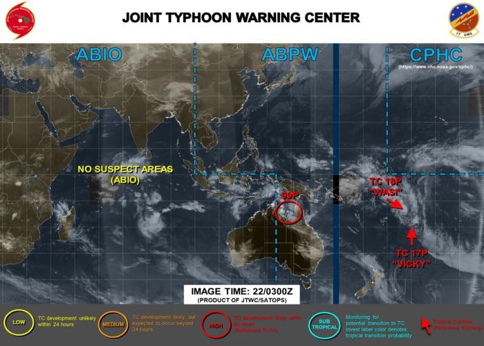 TC 18P(WASI) intensifying. 99P: TCFA. 17P(VICKY), 96P, 90S: updates at 22/03UTC