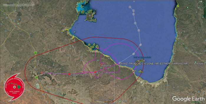 TC 19P(ESTHER): moving inland over northern Australia. TC 20S(FERDINAND): intensifying