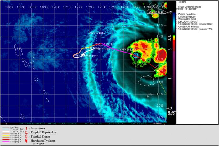 La progression inexorable de l'oeil du Super Cyclone vers VANUA LEVU. Cliquez sur l'image si nécessaire pour l'animer.