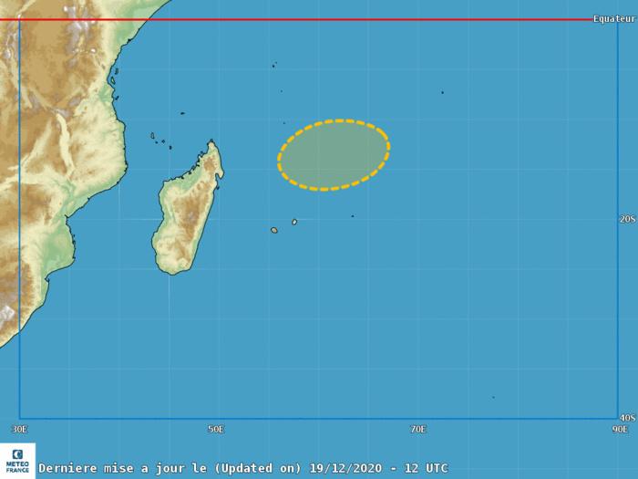 Le Centre Spécialisé Cyclone de la Réunion(Météo France) estime ce Samedi après-midi que le risque de formation d'une Tempête Modérée devient modéré à partir de Mardi prochain.