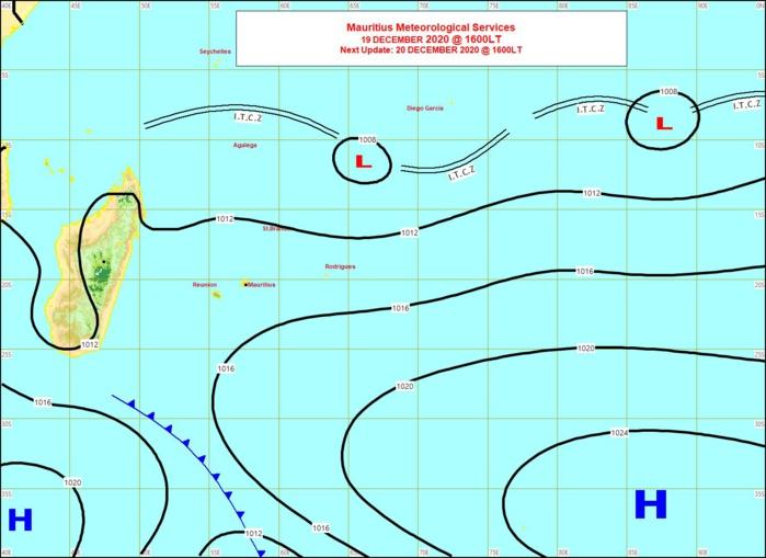 Les deux zones de Basse Pression(L) mentionnées sont bien présentes sur la carte synoptique de 16h de ce Samedi. MMS/Vacoas.