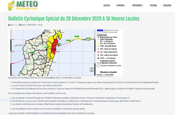 Bulletin Cyclonique avec les différents niveaux d'alerte émis à 16heures ce Samedi. MÉTÉO MADAGASCAR.