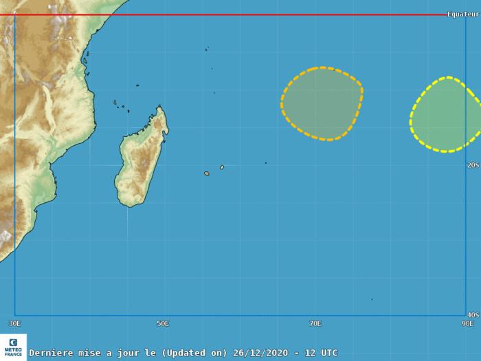 En plus de CHALANE(07S) qui va rentrer sur MADA deux autres Zones Suspectes sont ici décrites sur la carte du CMRS émise ce jour à 16h. CMRS/Réunion.