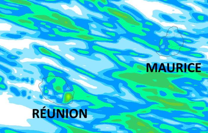 Accumulations sur 42heures des pluies selon le modèle Arome. Voir annotations plus haut. Simulation valable jusqu'à Mercredi 16h. Météo France. MCIEL.