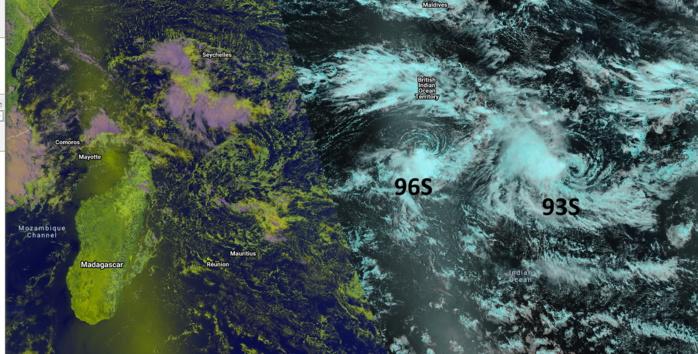 Image composite des satellites défilants NPP et NOAA-20 qui sont passés sur notre zone cet après-midi. Les deux zones dépressionnaires sont encore loin à l'Est-Nord-Est des Mascareignes.