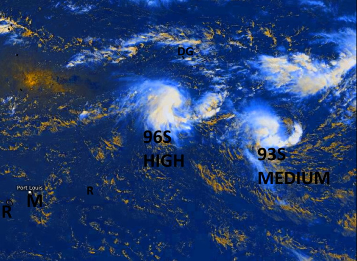 South Indian: likely interaction between Invest 96S and Invest 93S, 01/06UTC update
