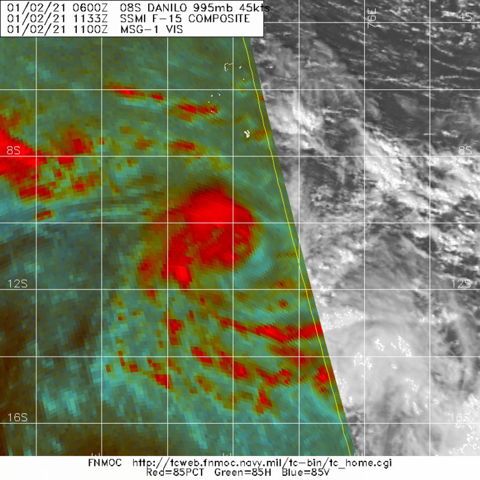 TC 08S: 02/1133UTC: THE LOW LEVEL CIRCULATION IS OFFSET TO THE SOUTHEAST OF THE MID  TO UPPER-LEVEL ROTATION.