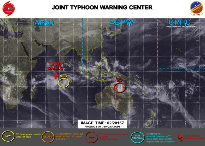 TC 08S: WARNING 5. INVEST 97P: UP-GRADED TO HIGH. INVEST 93S: DOWN-GRADED TO LOW.
