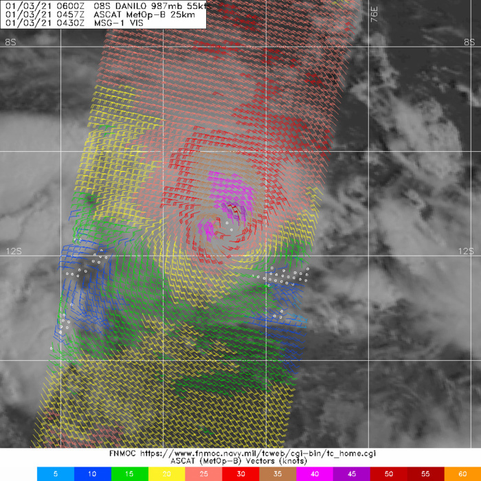 03/0547UTC. ASCAT-B PASS SHOWED A SMALL  AREA OF 50-55 KNOT WINDS TO THE NORTHEAST OF THE LOW LEVEL CIRCULATION CENTER.