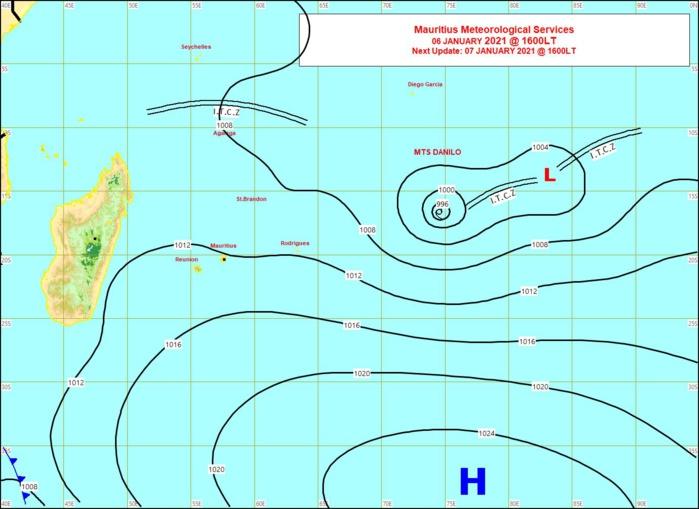 Analyse de la situation de surface ce Mercredi à 16heures émise par la météo de Maurice. MMS/Vacoas.