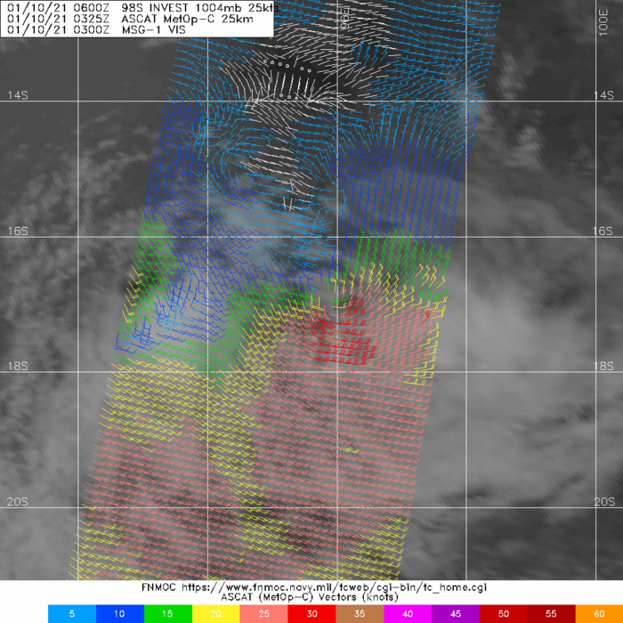 10/0325UTC. INVEST 98S. ASCAT DEPICTED STRONG WINDS UP TO 30/35KNOTS SOUTH OF THE ASSESSED LOW LEVEL CIRCULATION CENTER.