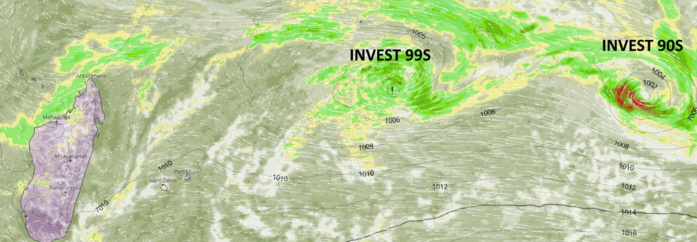 South Indian Ocean: Two areas under close watch, Invest 90S and Invest 99S