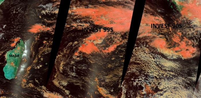 STITCHED MODIS/TERRA OVERPASSES FROM RIGHT TO LEFT: 14/0350UTC,14/0530UTC, 14/0710UTC