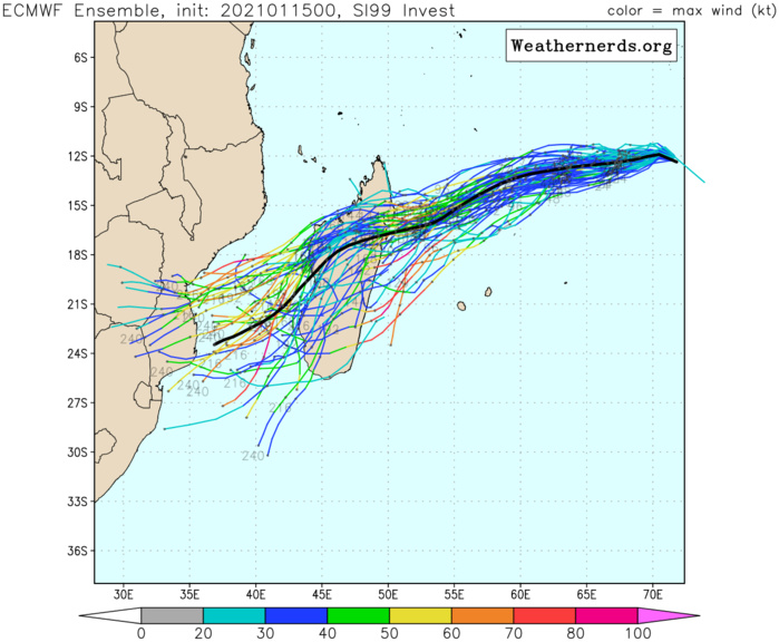 INVEST 99S: ECMWF AND GFS ARE PRETTY CLOSE TRACK-WISE AND AS FAR AS THE INTENSITY TREND IS CONCERNED.