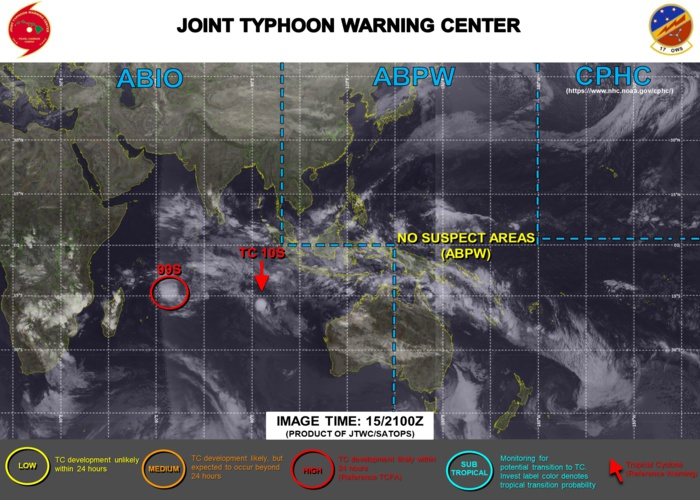 THE JTWC IS ISSUING 12HOURLY WARNINGS FOR TC 10S AND 3HOURLY SATELLITE BULLETINS FOR BOTH TC 10S AND INVEST 99S.