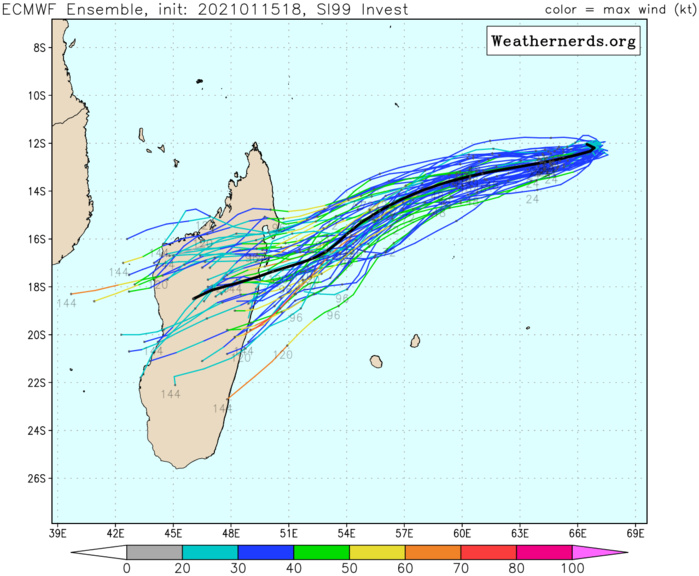15/18UTC.INVEST 99S: ECMWF TRACKS IT WITH A LANDFALL MUCH CLOSER TO TOAMASINA.