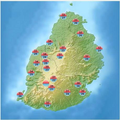Tempéatures maximales sous abri ce Samedi à MAURICE. Il fallait être à Grand-Bassin pour respirer. Même Mon Bois affiche 27°. 31° à 4 Bornes ou encore 30° à Vacoas. MMS/Vacoas.