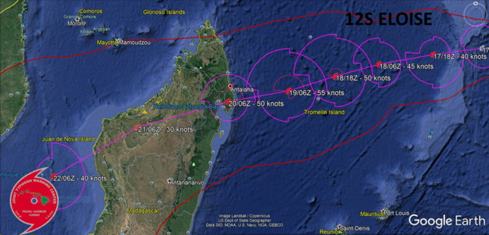12S(ELOISE). WARNING 1. 12S IS FORECAST TO TRACK WEST-SOUTHWESTWARD THROUGH THE  FORECAST PERIOD ALONG THE NORTHERN FLANK OF A DEEP-LAYERED  SUBTROPICAL RIDGE ENTRENCHED TO THE SOUTH.12S IS FORECAST TO STEADILY INTENSIFY TO A PEAK OF  55 KNOTS BY 48H AS IT APPROACHES THE NORTHEAST COAST OF  MADAGASCAR. HOWEVER, THE SYSTEM MAY PEAK HIGHER AFTER 48H PRIOR  TO MAKING LANDFALL NEAR 72H SOUTH OF ANTALAHA. AFTER 72H, TC 12S WILL RAPIDLY  WEAKEN OVER THE MOUNTAINOUS TERRAIN OF MADAGASCAR WITH DISSIPATION  ANTICIPATED BY 96H. TC 12S IS FORECAST TO RE-INTENSIFY AS IT  EMERGES OVER THE MOZAMBIQUE CHANNEL NEAR 108H.