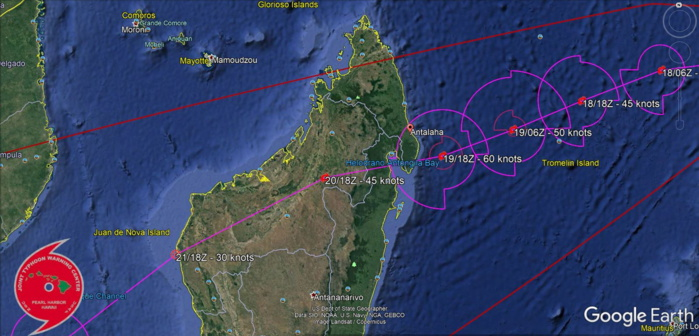 12S(ELOISE). WARNING 2 ISSUED AT 17/21UTC. NEXT WARNING WILL BE ISSUED AT 18/09UTC. INTENSIFYING SYSTEM WITH FORECAST LANDFALL SOUTH OF ANTALAHA/MADAGASCAR SHORTLY AFTER 19/18UTC.