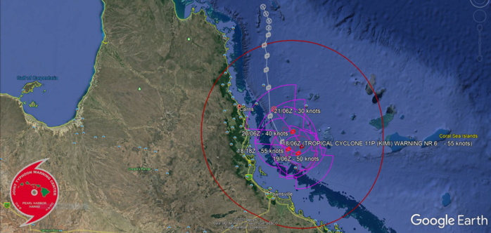 11P(KIMI). WARNING 6.THE SYSTEM IS TRACKING SLOWLY SOUTH-SOUTHEASTWARD  WITH RECENT RADAR IMAGERY SHOWING AN EASTWARD TURN.WILL BECOME QUASI- STATIONARY OVER THE NEXT 12-24 HOURS WITH AN EQUATORWARD TRACK  CHANGE BY 36H. AFTER 36H, INCREASING LOW-LEVEL SOUTHERLY FLOW  (WITH COOLER, MORE STABLE AIR) IS EXPECTED TO WEAKEN THE SYSTEM AND  STEER IT NORTH-NORTHWESTWARD WITH INTENSITY FALLING BELOW 35KNOTS ANTICIPATED BY 72H.
